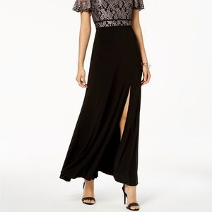 Night Way Collections Dresses - Nightway Off-The-Shoulder Damask Lace & Solid Gown